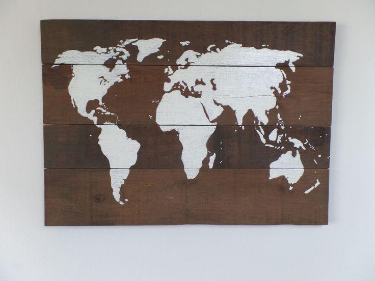 wereldkaart op hout schilderij