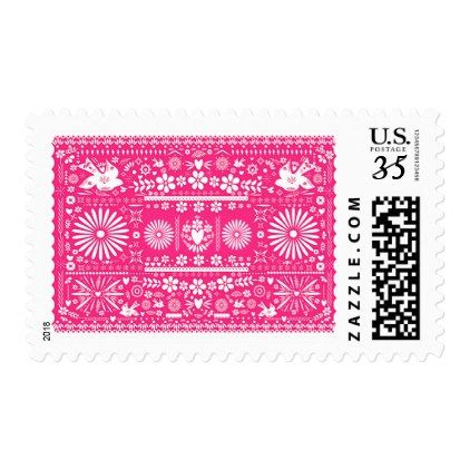 Mexican Picado Hot Pink Paper Wedding Marriage Postage - birthday cards invitations party diy personalize customize celebration