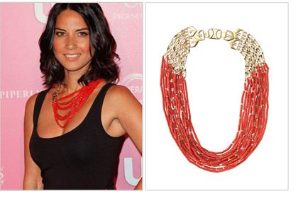 Actress Olivia Munn wearing the Campari Necklace by Stella & Dot. Celebrity jewelry. Do you think her stylist told her to wear it sideways (instead of with the clasp in the back), or she figured it out herself? http://shop.stelladot.com/style/b2c_en_us/fashion-celebrity-press/as-seen-on-celebrities.html?s=danya