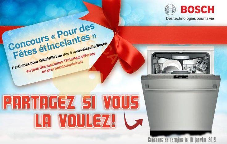 Concours Bosh: Gagnez 1 des 4 lave-vaisselle Bosh, et des machines Tassimo offertes en prix hebdomadaires   TONSITE.CA