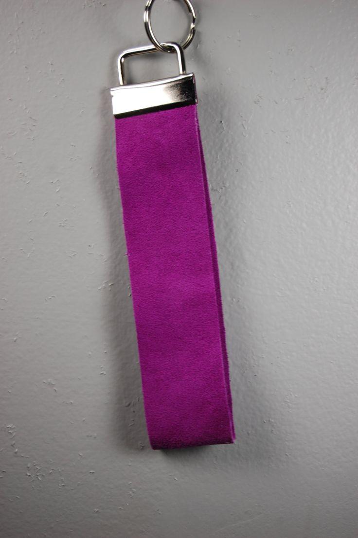 Fuschia Suede Wristlet Keychain by BerkeandBradyJo on Etsy