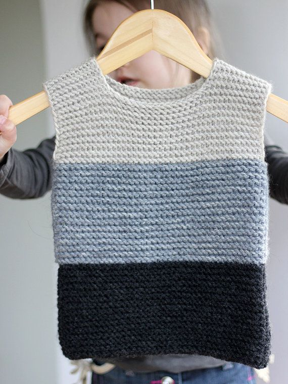 Hand Knitted Baby Girl Vest Gray Black Wool Baby Boy Girl Vest Girl Stripe Knit…