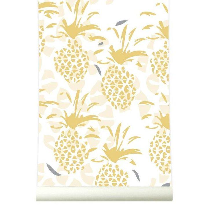 Super leuk behang Pineapple van Roomblush! Met het ananas behang heb je altijd een vakantiegevoel. Aloha! Het gele Pineapple behang staat heel mooi in bijvoorbe