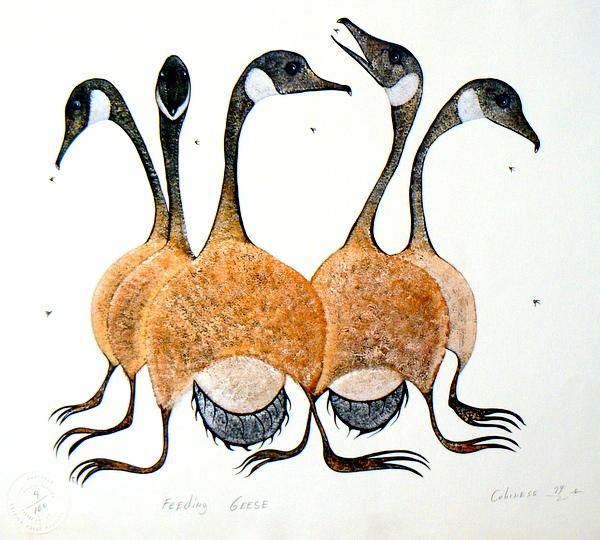 Feeding Geese by Eddy Cobiness (Ojibwe) - Contemporary Canadian Native, Inuit & Aboriginal Art - Bearclaw Gallery