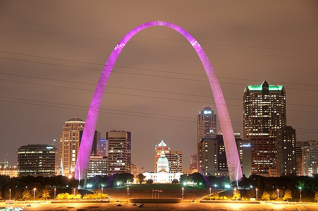 Gateway Arch, St. Louis Missouri - The city lights the Arch pink during October in honor of Breast Cancer Awareness MonthSt Louis, Gateway Arches, Louis Missouri, Arches Pink, Awareness Kickoff, Breast Cancer Awareness, Pink Ribbons, City Lights, Cities Lights
