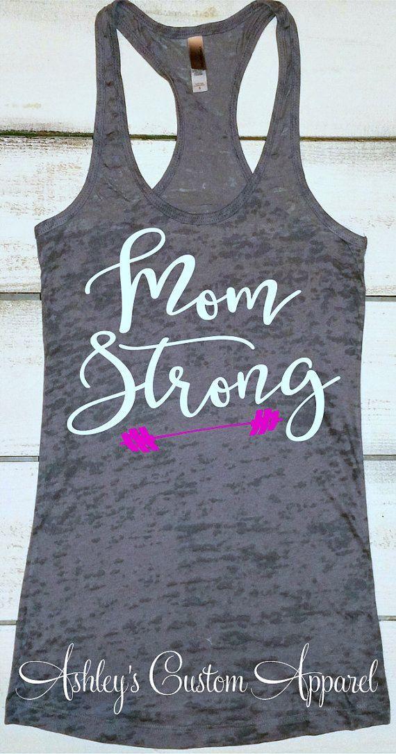 Mom Strong Tank Womens Workout Tank Top by AshleysCustomApparel