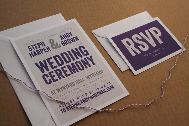 Wedding Invitation Sample - The Modern Type £2.00 #purple #wedding #invite #invitation #stationery #modern #bold #simple #twine #cadbury #personalised