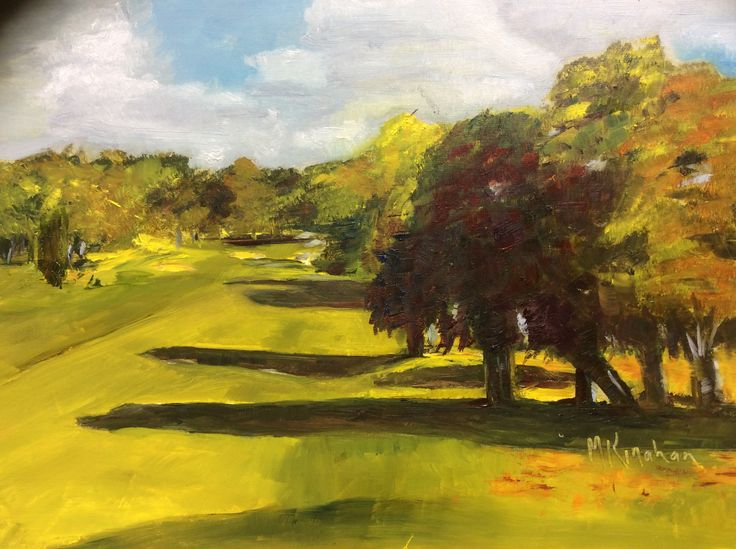The first fairway on the Royal Curragh Golf Course, the oldest golf course in Ireland.  Painted from photograph taken in early morning sun, October.  Oil on canvas.