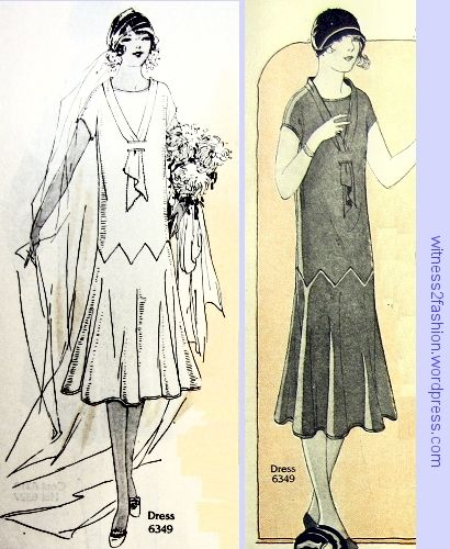 Two illustrations of Butterick 6349; Delineator, October 1925, pages 32 and 26.