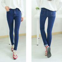 2014 pantalones vaqueros femeninos otoño 100 % algodón de talle alto azul estiramiento pantalones vaqueros pantalones vaqueros más del tamaño flaco mujer pantalones vaqueros ropa americana