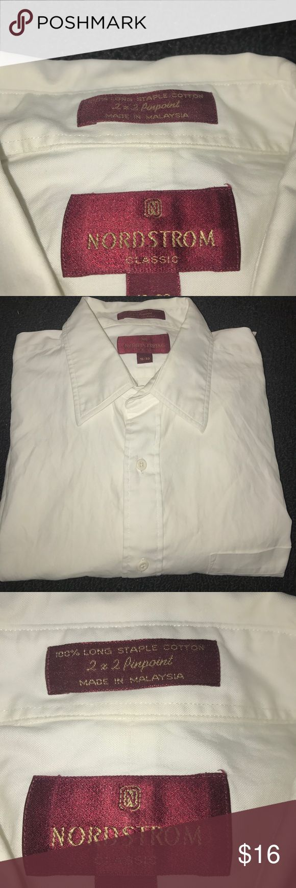 Men's Nordstrom White Dress Shirt size Large Men's Nordstrom White Dress Shirt size Large still in great condition no rips or stains. Nordstrom Shirts Dress Shirts