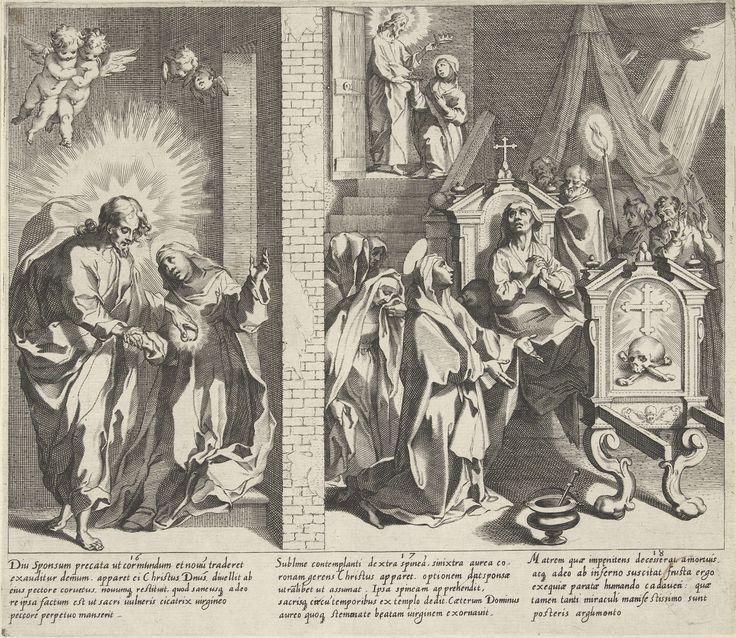 Catharina en Christus ruilen hun harten / Catharina kiest de doornenkroon / Catharina bezoekt een zieke vrouw op haar sterfbed, Pieter de Jode (I), 1597