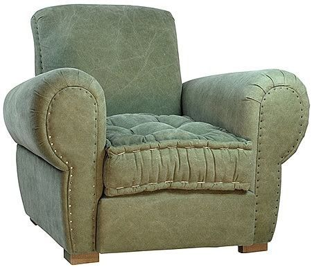 Big Boy Sage Luxurious Tufted Seat Comfy Armchair in Stone Washed Linen Damask and Exposed Nail heads