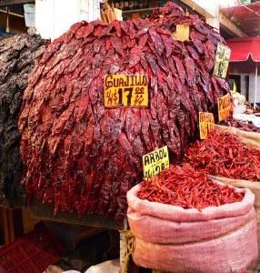 Dried chiles, La Merced market, Mexico City, 2010.