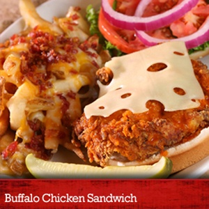Buffalo Chicken Sandwich at Logan's Roadhouse... All sandwiches and burgers include homestyle potato chips.