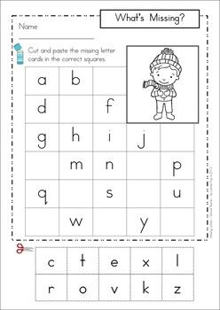 Missing Alphabet Letters Cut and Paste - WINTER Theme. Includes uppercase and lowercase letters.