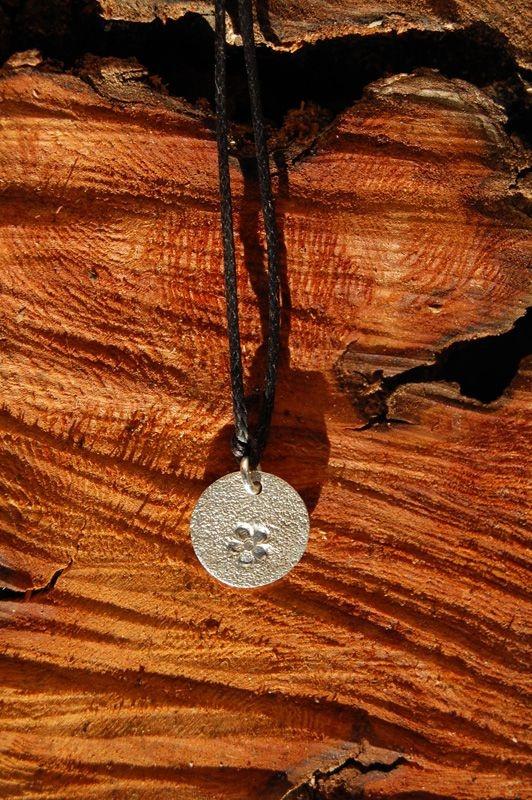 silver charm! Flower's print on precious metal clay