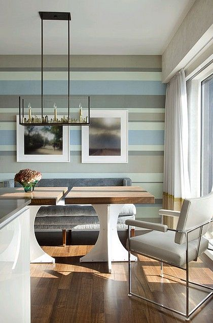 Striped walls in serene colors. #zincdoor #stripes #walls