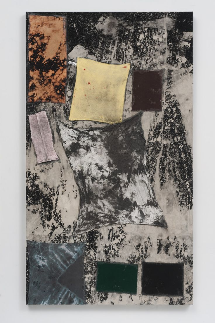 Sterling Ruby. BC (3724). Collage, paint, bleach, glue, fabric on wood. 84 x 48 in. 2012.