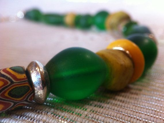 Antique Venetian & Kano Trade Beads Necklace by monuandmonu