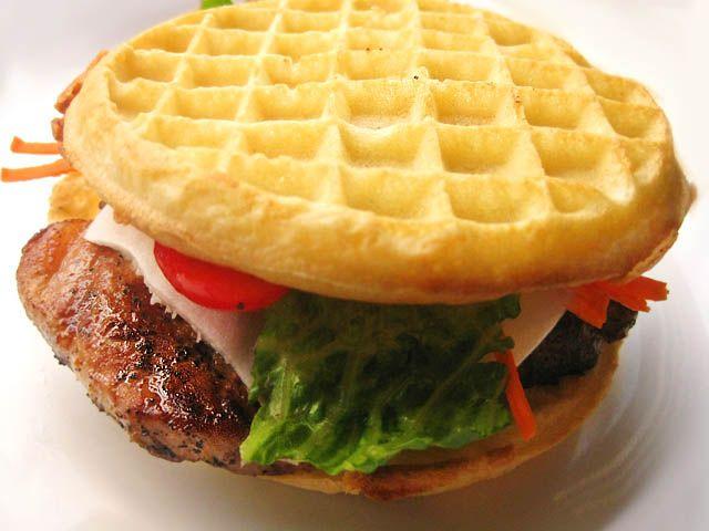 Pork Chop Waffle Sandwich
