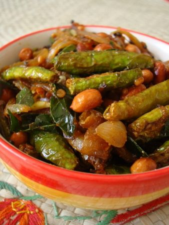 As long as there's lots of peanuts, this Ivy gourd stir fry recipe is a winner. A classic vegetarian dish served on special occasions as part of an elaborate Andhra thali.