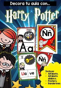 "Spice up your classroom with these posters, pennants and bunting! Decorate your classroom this year with this Harry Potter themed Alphabet Poster Set.Bunting and pennants are EDITABLE!This set includes:-  Alphabet bunting (upper and lowercase letters).- ""Bienvenidos"" bunting.- Alphabet pennants.- ""Bienvenidos"" pennants-  Posters with picture and upper and lowercase letters.- Alfabeto silbico: with words, letters and pictures.This set also includes digraphs and blends."