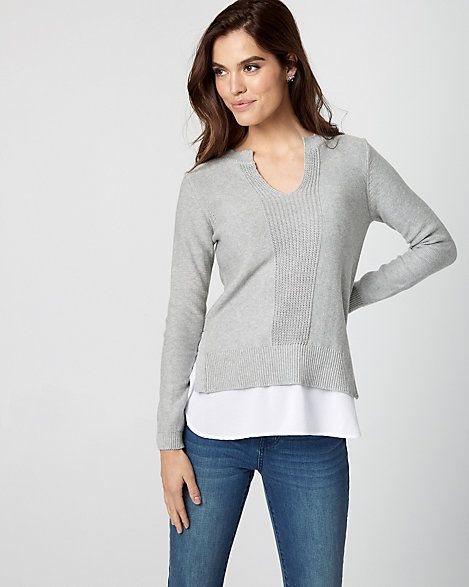 Knit & Woven 2-in-1 Sweater - A crisp underlay that peeks from the hem creates an effortlessly layered look on a cozy sweater.
