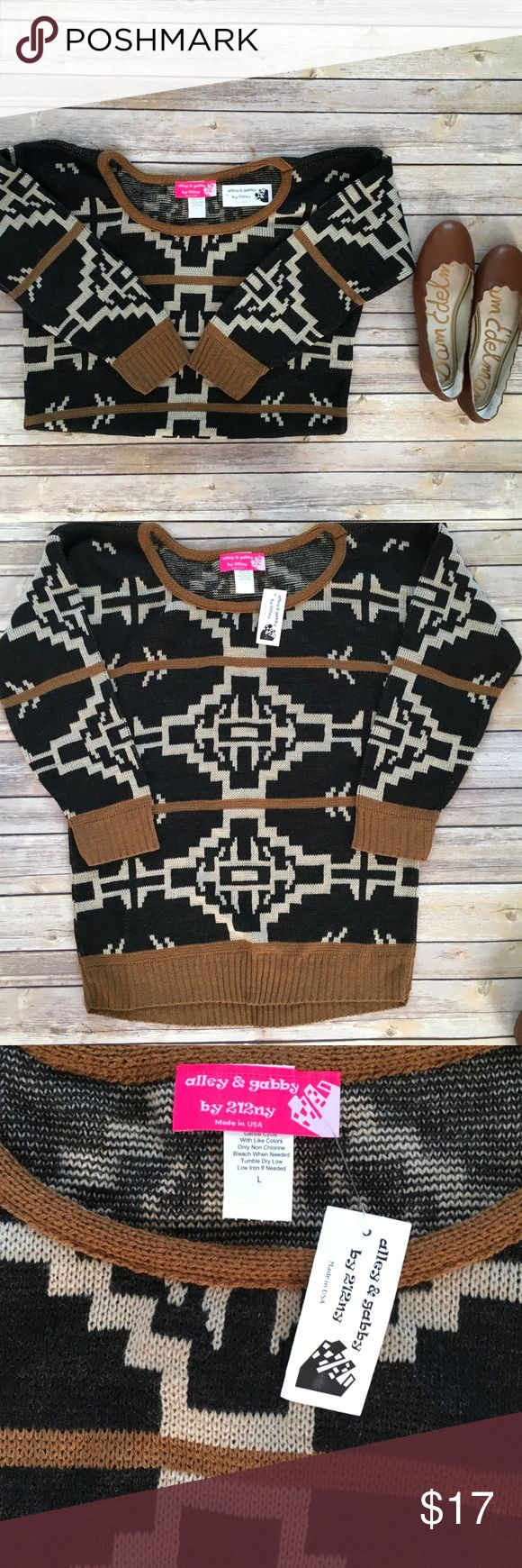 Alley&Gabby a Tribal Print Sweater Size Large Alley&Gabby a Tribal Print Sweater Size Large NWT **Garments Will Be Steamed Before Shipping** Alley&Gabby Sweaters Crew & Scoop Necks