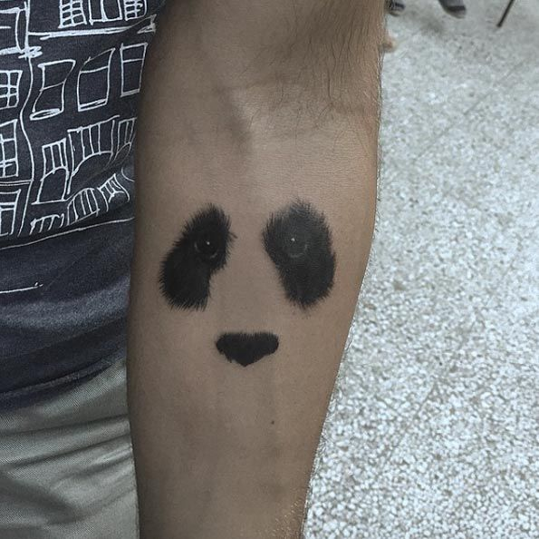 40+ Unique Forearm Tattoos for Men With Style- Negative Space Panda Tattoo by Resul Odabas
