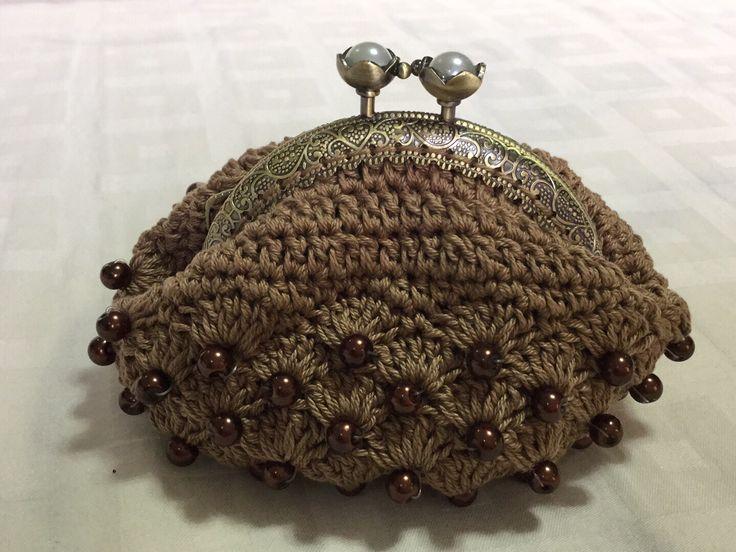Bead crochet coin purse