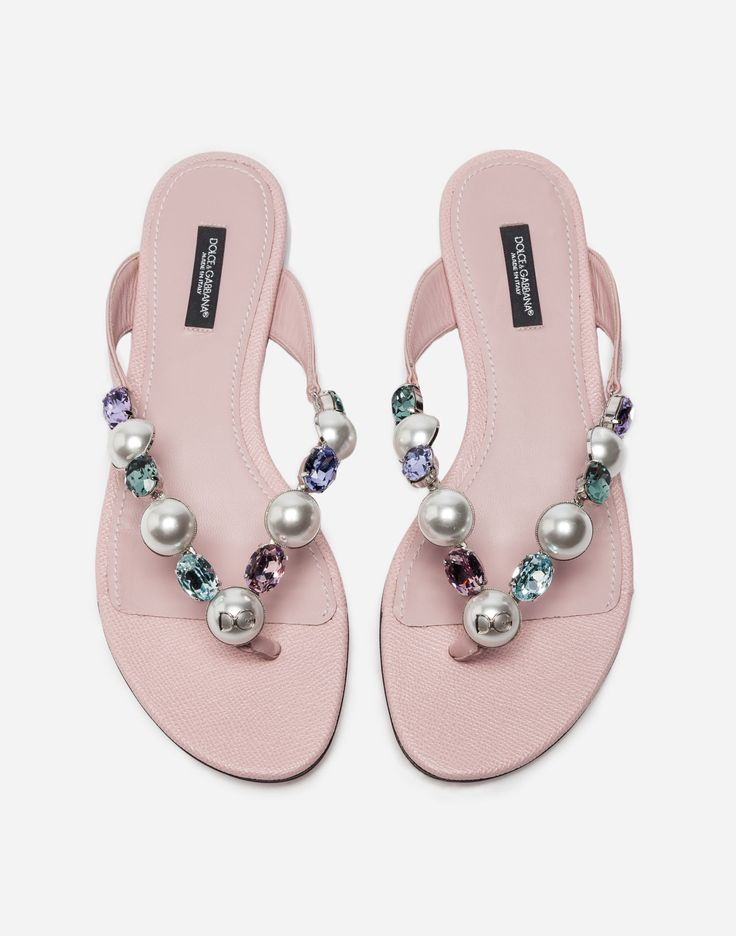 Buy the bejeweled thong sandals for women in pink Choose from our wide  selection on DolceGabbana