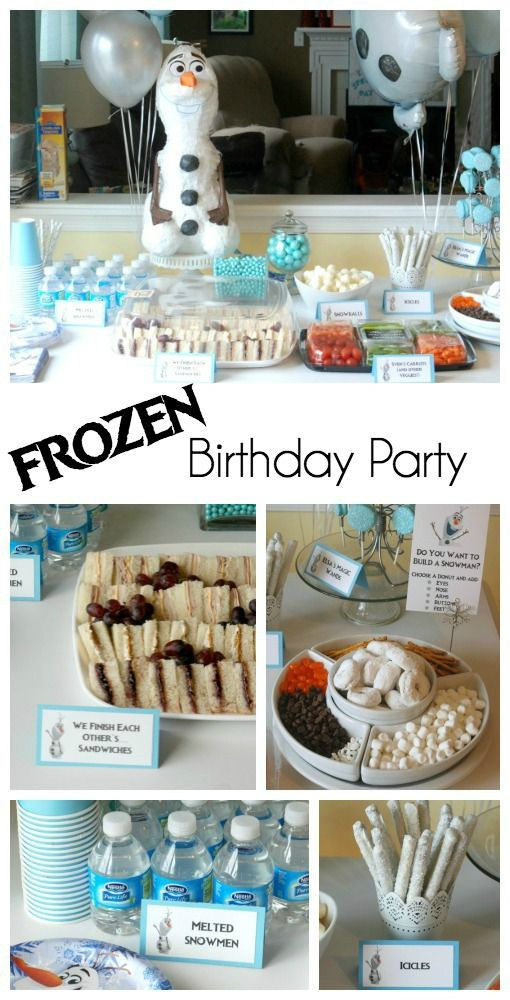 This Frozen birthday party has so many ideas to steal -- like Melted Snowmen instead of water! (So cute!) Bonus: it was a boy's party, so it's more Olaf than Elsa and Anna. So much fun!
