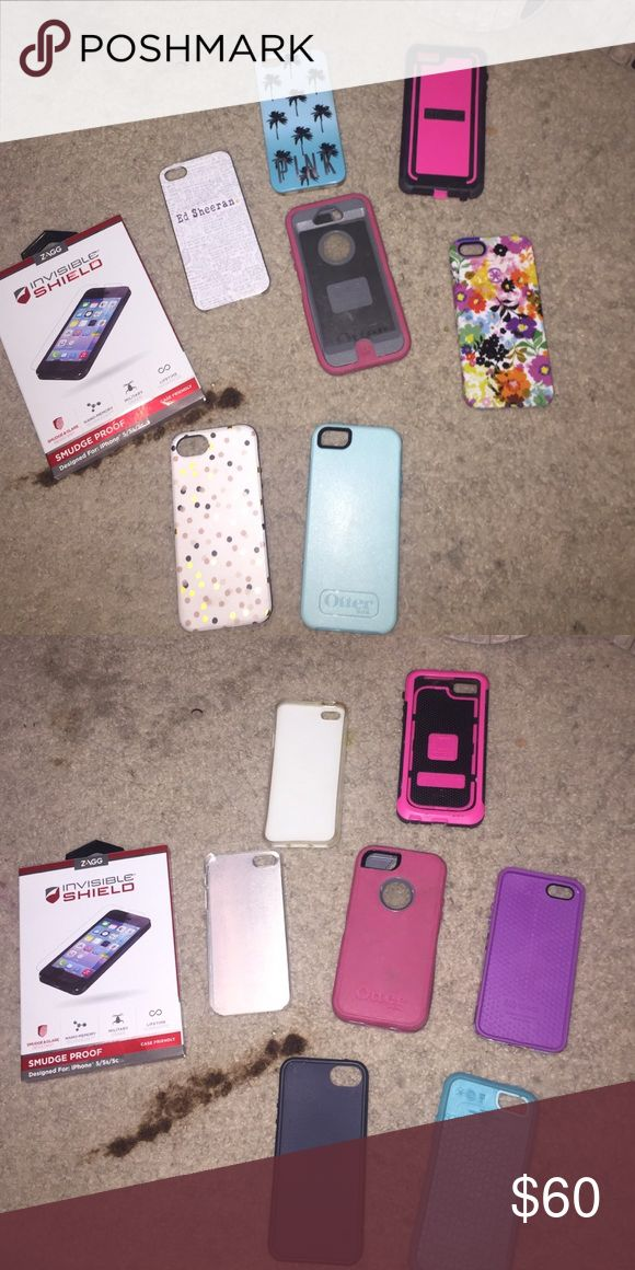ALL BRAND NEW IPHONE 5/5s/5se cases MOSTLY BRAND NEW! Brand new in box invisible shield, NWOT speck, victoria secret PINK, Ed Sheeran case, 2 otter boxes, and a various style cases. Can separate !!! Accessories Phone Cases