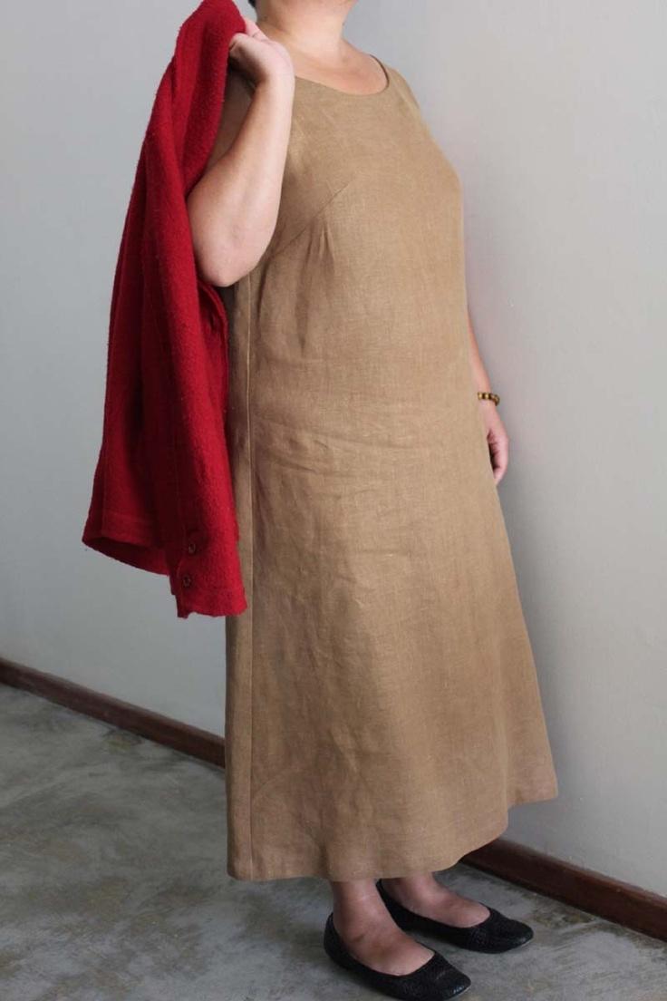Brown linen dress US size 14 (L/XL). $70.00, via Etsy.