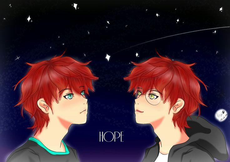 Saeran and Saeyoung hope's #drawing #digitalart #animeboy #fanart #mysticmessenger #mm #msme #gameotome #game #otome #saeran #saeyoung #choi #saeranchoi #saeyoungchoi #seven #707 #luciel #unknown #twin #minteyes #yelloweyes #goldeyes #redhair #glasses #sky #hope
