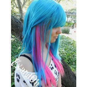 ON SALE Trickster / Teal, Purple, Pink and Blue / Long Straight Layered Wig