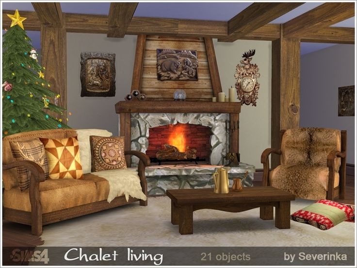 A Set Of Furniture And Decor For Decoration Chalet. Found In TSR Category  U0027Sims