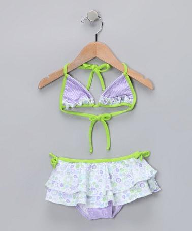Take a look at this Purple Daisy Bikini - Girls by Lemons & Limes Kids Swimwear on #zulily today!