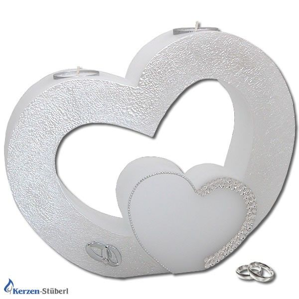 Hochzeitskerze - Herz mit Swarovski Elements   KerzenStüberl