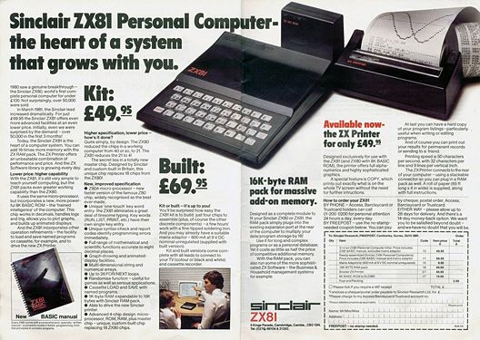 A computer for under $100! Timex Sinclair 1000 (Sinclair ZX81 in the UK). I snapped one up when I found one for $50. No monitors back then – plug it into a TV. No graphics - just Basic OS. No hard or floppy drives - programs were stored on a cassette reco