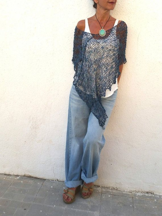 Blue knit poncho for women, linen dress top, women's poncho, hand knit blue wrap, gifts for wife, cotton summer poncho