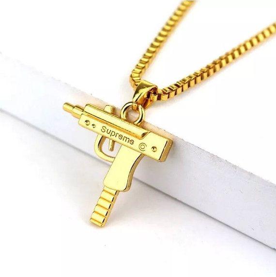New Silver Bar Pendant Necklace Franco Chain Hip Hop Logo UZI USA SELLER