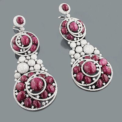 Diamond Ruby Earrings: Red Carpet Celebrity Jewelry 19.80ct 155.45ct