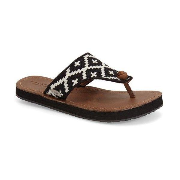 Women's Acorn 'Artwalk' Flip Flop (248975 PYG) ❤ liked on Polyvore featuring shoes, sandals, flip flops, black cream leather, acorn sandals, black rubber sole shoes, black flip flops, kohl shoes and acorn shoes