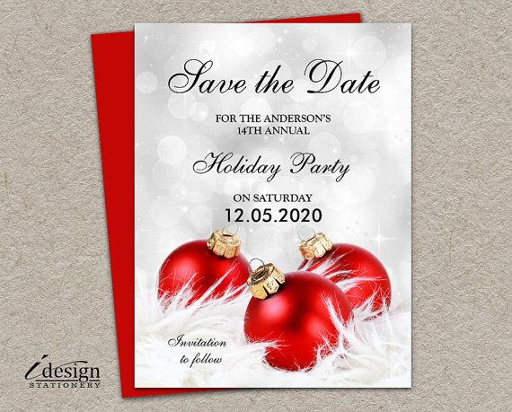 holiday party save the date cards diy idesignstationery on. Black Bedroom Furniture Sets. Home Design Ideas