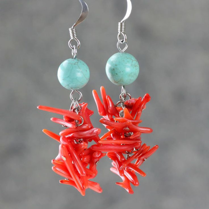 Chandelier+earrings+turquoise+coral+long+dangle+by+AniDesignsllc,+$12.95
