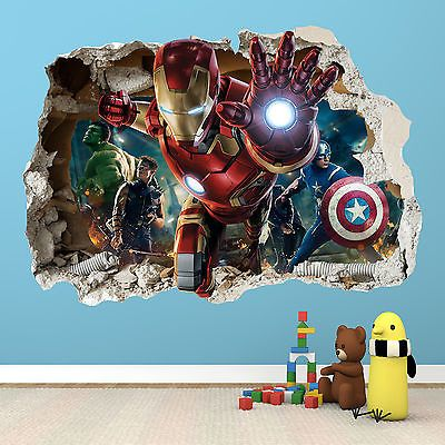 IRONMAN SMASHED WALL STICKER - 3D BEDROOM AVENGERS HULK BOYS GIRLS DECAL