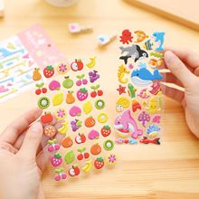 3sheet/lot 3D Puffy Bubble Sticker Sheets Lsables And Tex Boxes Car Stickers And Decals Cartoon Animal Fruit Laptop Sticker(China)