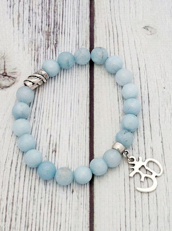 Om light blue agate bracelet blue agate bracelet blue